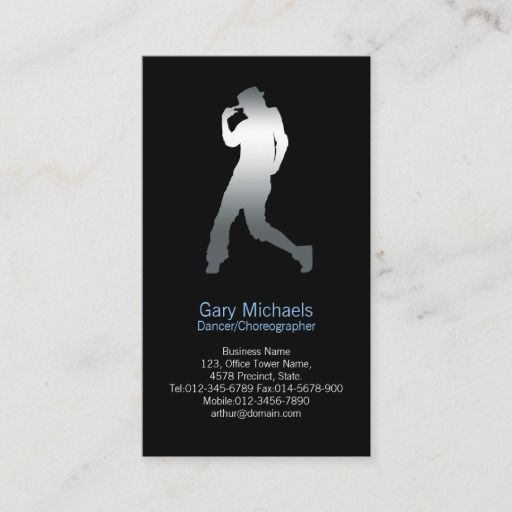 Dancer Silver Silhouette Dancer Business Card Zazzle Com Dancer Business Card Dancer Printing Double Sided