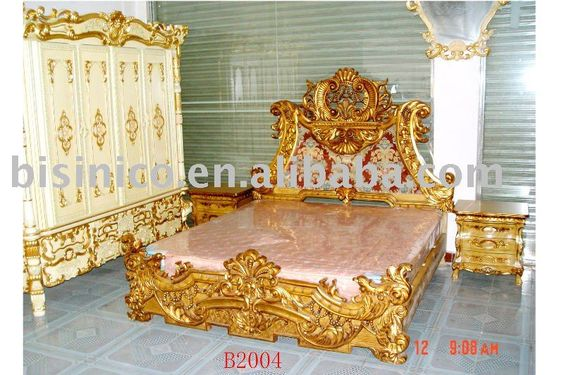 Louis Style Classical Antique Wooden Luxury Bedroom Set King Size Bed Dresser Wardrobe Hand