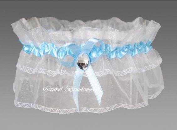 Bruids kousenbandje met Swarovski kristal. Materiaal: organza/satijn. Kleur: wit/blauw. - € 12,00