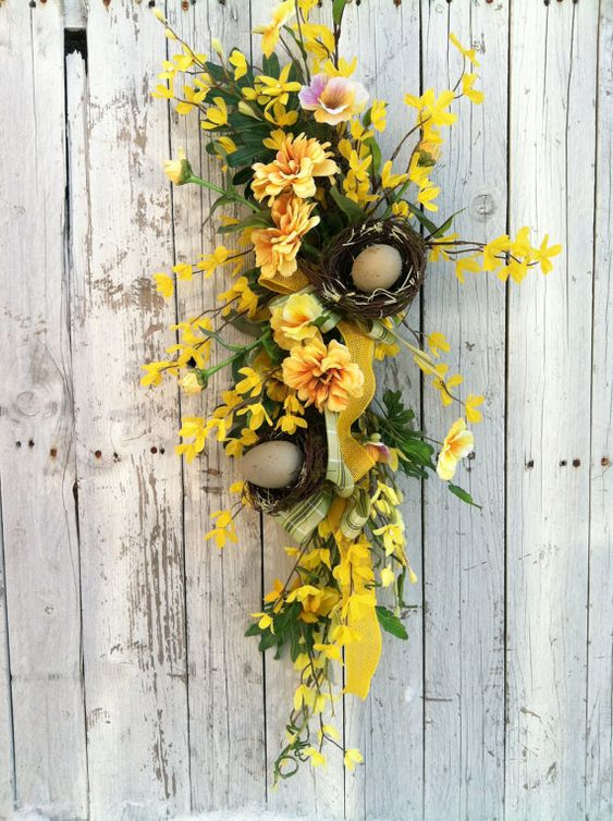 Yellow spring door swag forsythia birch door wreath Spring flower arrangements for front door