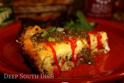 Hash Brown Quiche - A smoked sausage quiche with onion, bell pepper and Swiss cheese in a hash brown crust, served with a drizzle of Sriracha Chili Sauce and Fire Roasted Green Salsa.