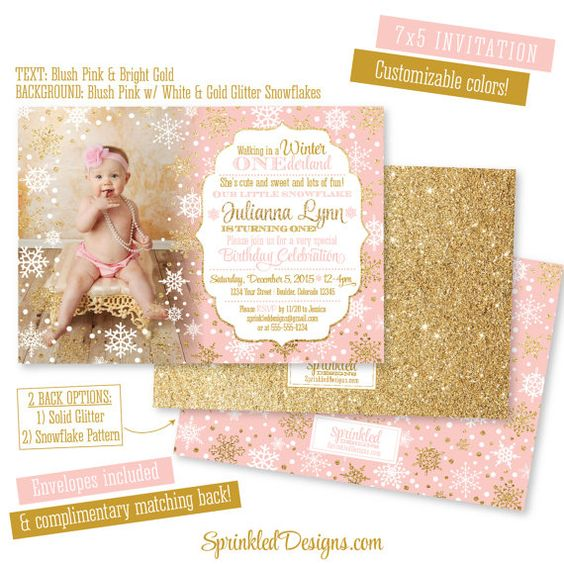 Winter ONEderland Invitation Girl Photo Card  by SprinkledDesign