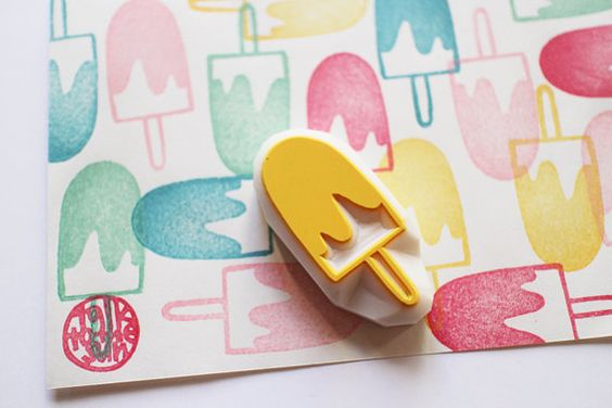*chocolate coated ice cream rubber stamp/ice candy stamp/popsicle stamp.  something tasty looking design for summer! fun craft with children for