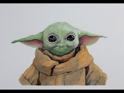 Watercolor Painting Baby Yoda My Son S Request Youtube Yoda Art Friend Painting Yoda Drawing