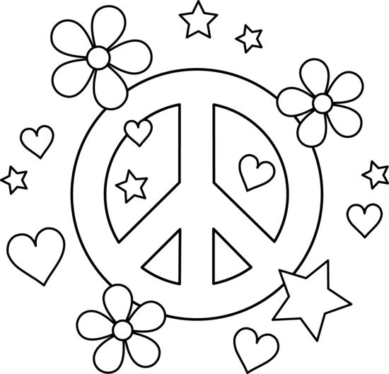 heart peace sign coloring pages - photo#25