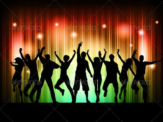 Silhouette Dance Music Abstract Background: People Dancing, Couple And Abstract