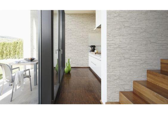 Schönes, edles Design, durch eine dunkle Tapete in Steinoptik - modern tapezieren