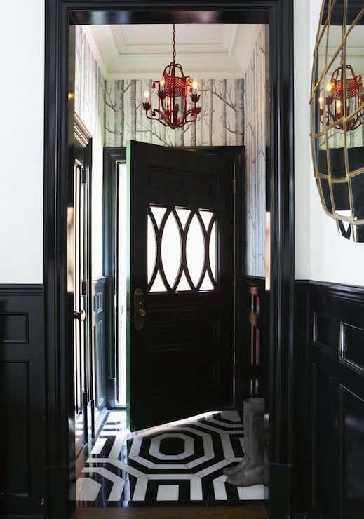 Philip Gorrivan Design: Eclectic black and white foyer with glossy black wainscoting paired with Cole & Sons ...