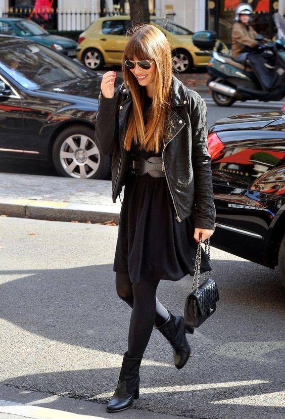 #Jessica Biel with a Chanel 2.55 Medium Flap Bag, black Leather jacket.