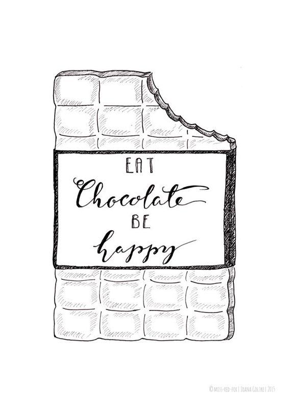"""missredfox - Print """"Eat Chocolate Be Happy"""" - bnw, black & white, graphic, art, typo, drawing, decoration // Poster Druck """"Eat Chocolate Be Happy"""" - schwarz weiß, grafisch, Kunst, Zeichnung, Deko, Geschenk, Schokolade, glücklich, Typografie, Lettering"""