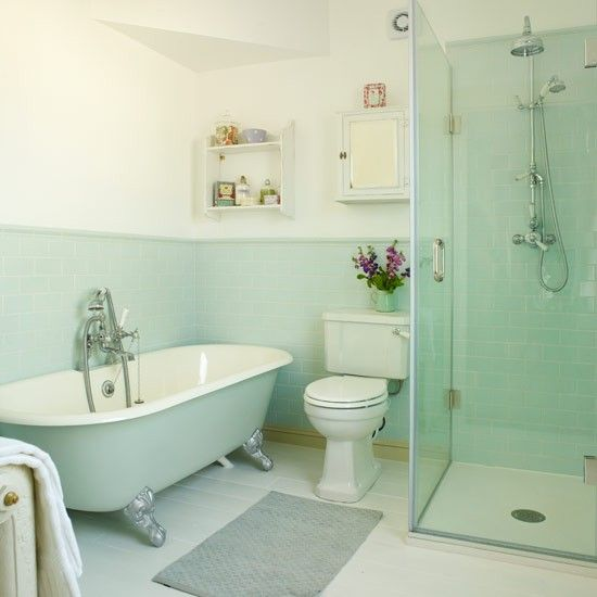 Shower makeover metro tiles and bath shower on pinterest How to decorate a blue tile bathroom