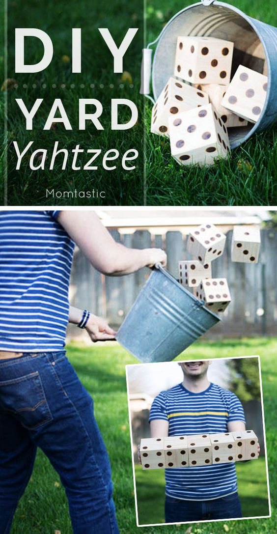 Yard yatzee made with 4×4 wooden blocks. Woodburn dots and paint. Game on!: