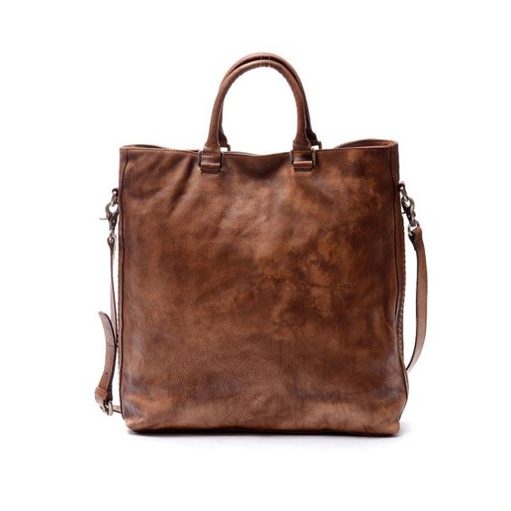 15Men Leather Briefcase Vintage brown genuine leather by nooooin