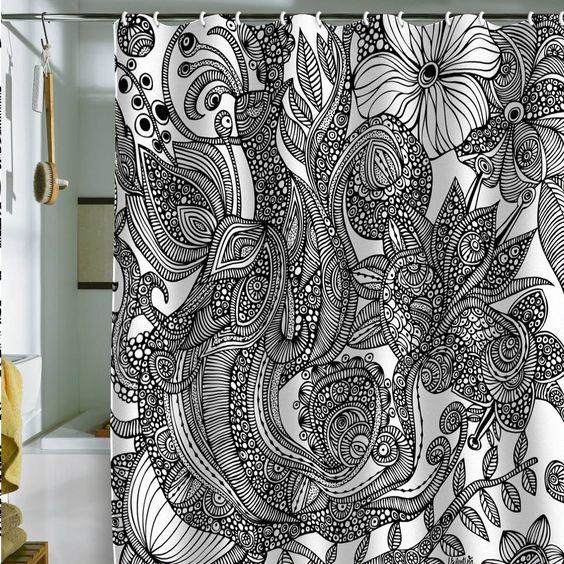 Valentina Ramos Bird In Flowers Black White Shower Curtain White Shower Sh