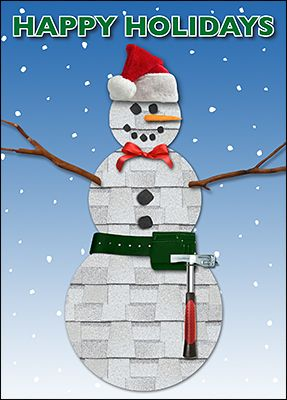 Customize Snowman Roofing Christmas Cards Online   Ziti Cards