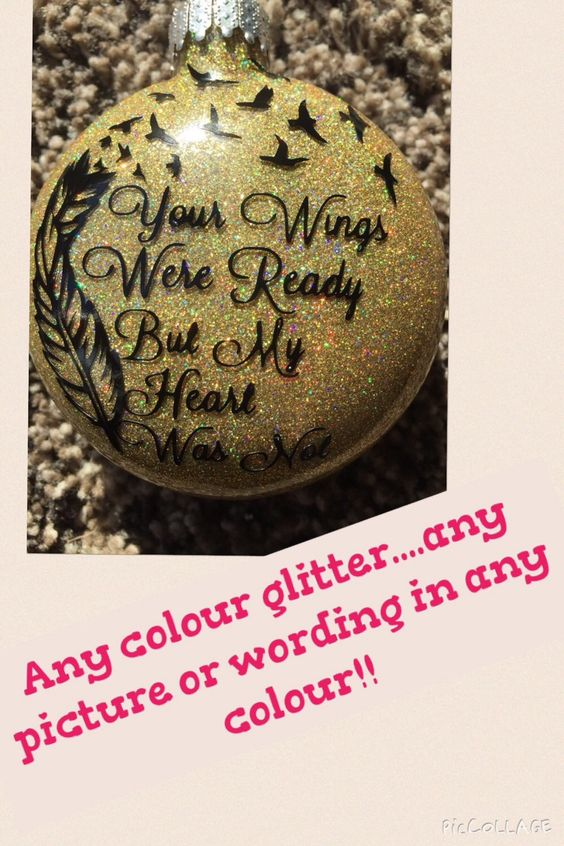 Personalised glitter memory Christmas tree glass bauble any colour, anything on it. Children kids family by MTPersonalisedPrint on Etsy https://www.etsy.com/listing/248682896/personalised-glitter-memory-christmas