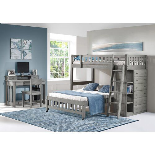 Harriet Bee Aranza Twin Over Full L Shaped Bunk Beds With Drawers Wayfair Bunk Beds With Drawers Bunk Bed With Trundle Loft Bed