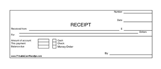 A basic payment receipt to be used by a retail store or anywhere - payment received receipt