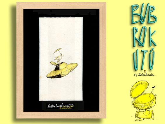 """Butterbrotkunsttüte """"hamburger wetter""""- gerahmt! von Die Bubrokutü auf DaWanda.com"""