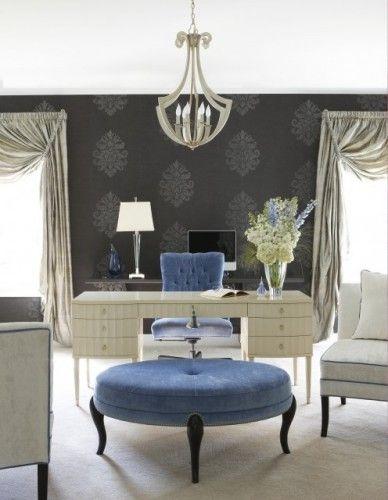 Home Office light grey stencil on dark grey walls  Blue chair & blue ottoman