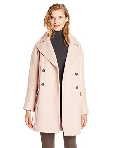 Vince Camuto Women&39s Double Breasted Wool Coat Smoky Blush Small