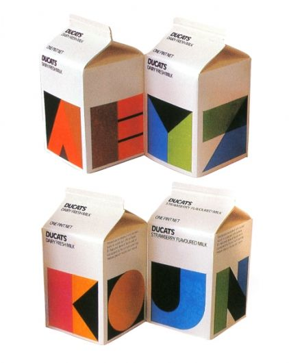Designspiration — FROM ME TO YOU — Ducats Milk cartons designed by Heinz Grunwald c....
