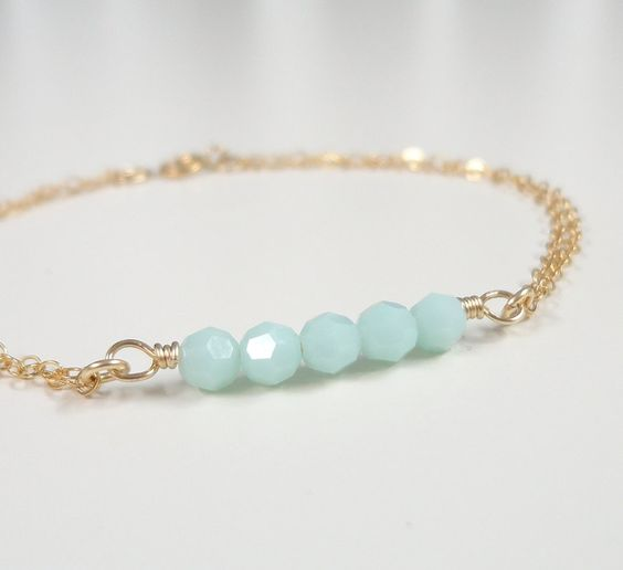 Mint Green Bracelet - Simple Everyday Jewelry - Delicate Gold Filled Bracelet: