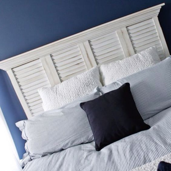 Shutter headboard with crown molding OMG THIS WAS MY IDEA!!! :-)  its so great to see  that someone else had this idea and has already executed it so the idea in my head can be confirmed that it will be beautiful!!