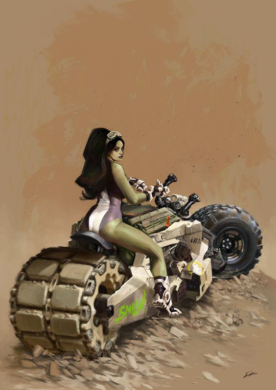 """She-Hulk What kind of motorcycle can handle a female Hulk? Answer: The """"Smash!Pod""""!"""