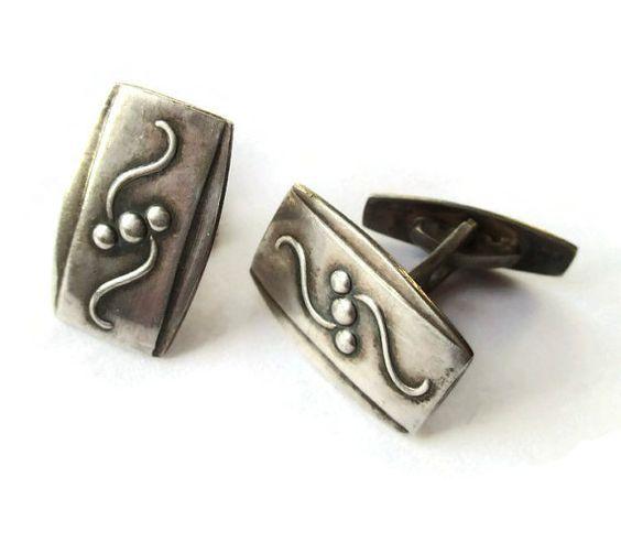 Art Deco cufflinks, Danish design, 830 silver cuff links, Bernhard Hertz, Scandinavian silver, vintage suit accessories, gifts for men. https://www.etsy.com/uk/listing/492526643/art-deco-cufflinks-danish-design-830