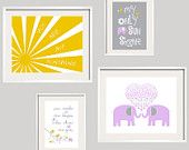 Kids Wall Art You Are My Sunshine for Grey Yellow and Purple Suzanni Bedding and Fabrics Elephant Print Set girl or boy colors 8x10 and 5x7
