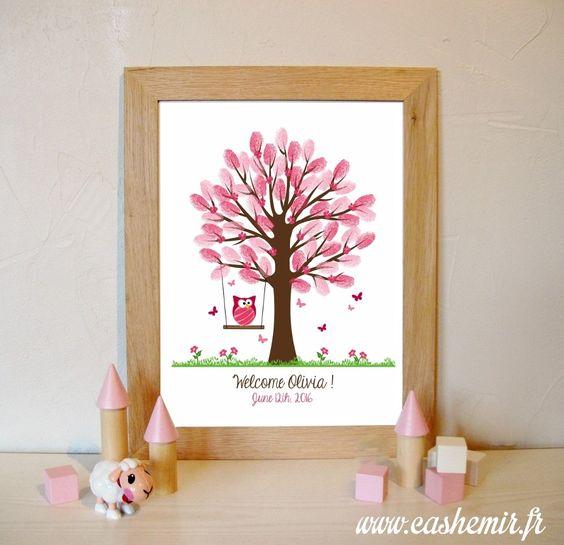 bapt me arbre empreintes naissance b b enfant anniversaire baby shower fichier. Black Bedroom Furniture Sets. Home Design Ideas