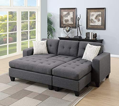 Enjoy Exclusive For Modern Living Room Bobkona All One Sectional Blue Grey Polyfiber Reversible Sectional Sofa Chaise Pillows Xl Ottoman Online Small Sectional Sofa Sectional Sofa Sofa Set