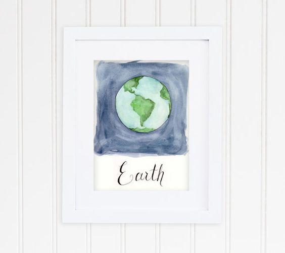 Planet Earth Art Print Nursery Decor