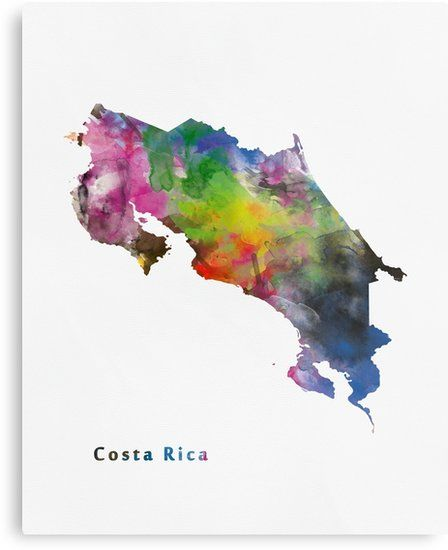 Costa Rica Abstract Map Art Metal Print At Redbubble Costa Rica Literally Rich Coast Officially The Repub Costa Rica Art Watercolor Map Costa Rica Map