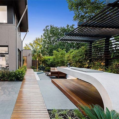 Backyard Oasis Designed By Apexpoolsandspas We Never Tier Of This Floating Concrete Bench And Curved Floating Planter Step Insituconcrete Hungrywolfst