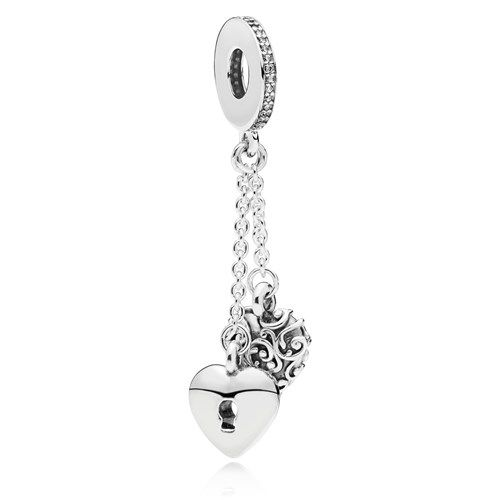 Pandora Lock Heart Dangle Charm 797642cz Pandora Style Bracelets Dangle Charms Pandora
