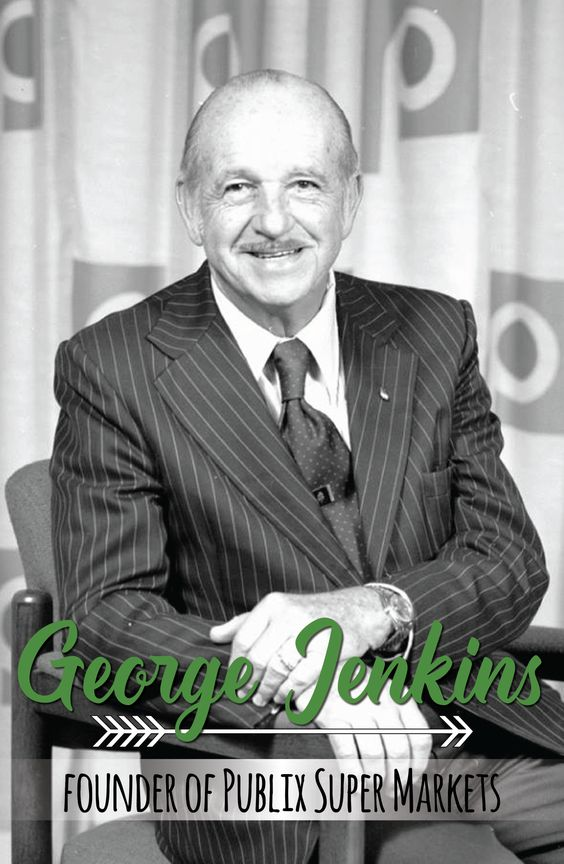 George W. Jenkins was born Sept. 29, 1907. He grew up in Harris, GA. In 1925, he headed to Tampa, Fl. at the age of 17 and took a job as a stock clerk in a local grocery store. After only a couple of months, he was promoted to manager and was later transferred to manage the chain's largest store in Winter Haven, a position he held from 1926 to 1930. It was that year that he resigned and decided to start his own grocery store, later known as Publix Super Markets.