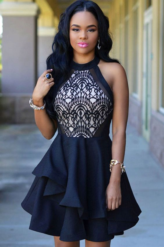 Black+Sleeveless+Lace+Accent+Layered+Party+Dress+#Black+#Dress+#maykool