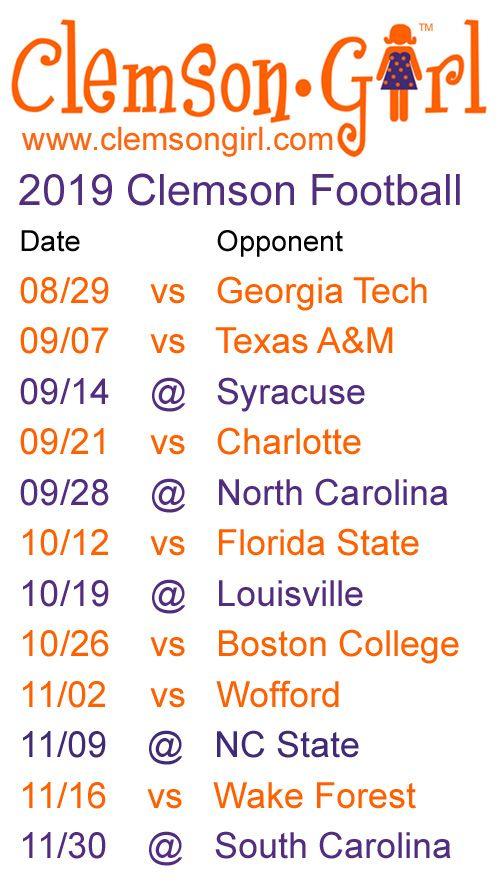 2019 Clemson Football Schedule Clemson Football Schedule Clemson Football Clemson Tigers Football