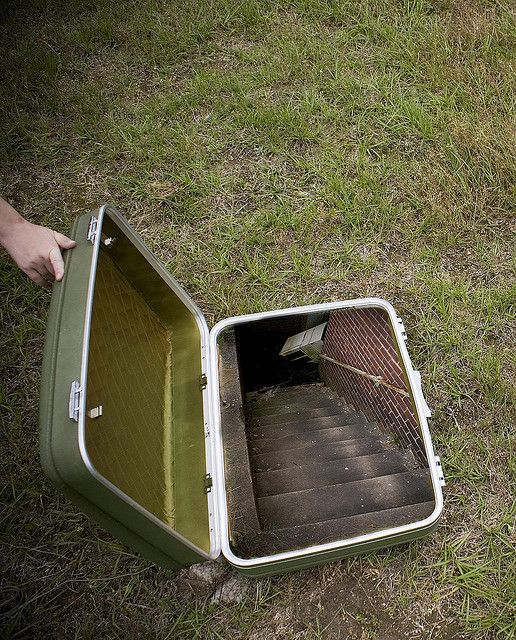 This is a picture of a stairway placed in a suitcase, and it's just for fun, probably not for Amanda's party.