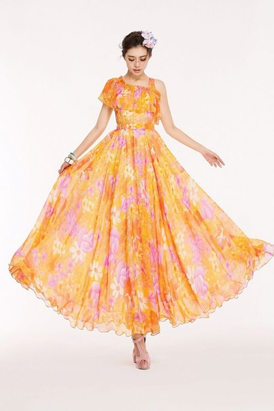 クリアオレンジで元気いっぱいのワンピ風ロング♪ - ロングドレス・パーティードレスはGN|演奏会や結婚式に大活躍!