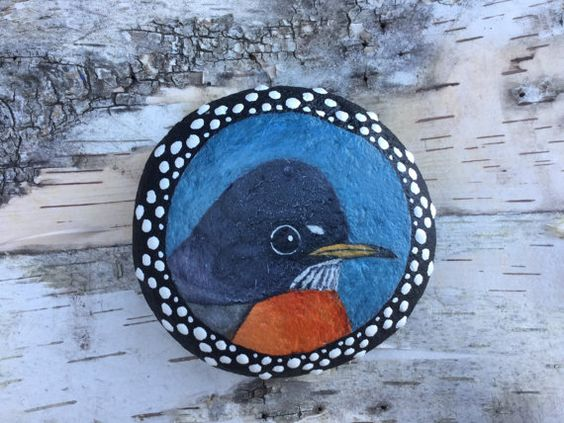 Painted Stone, Painted Rock, Bird Painting, Robin, Rock Painting, Stone Painting, Paperweight, Home Decor, Ornament, OneStonedBird
