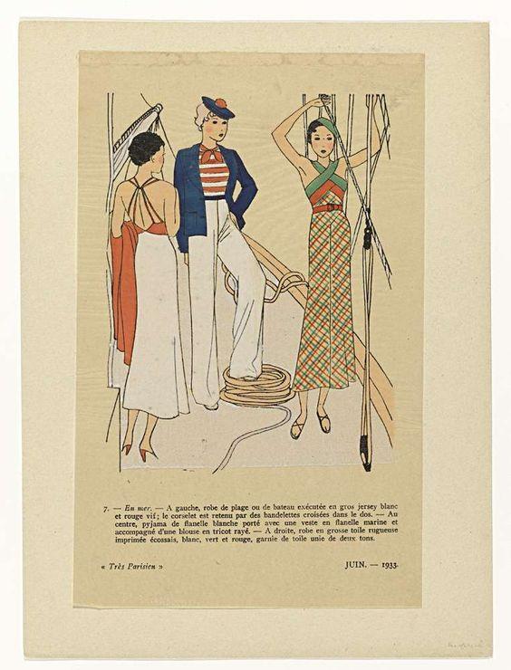 Anonymous | Très Parisien, Juin 1933, No. 7 : En mer.- A gauche, robe de plage..., Anonymous, G-P. Joumard, 1933 | Links een strandjurk van jersey, met kruisbanden op de rug. In het midden een strandpyjama van witte flanel, met marineblauw vest en een gestreepte blouse van tricot. Rechts een japon van grof linnen bedrukt met Schotse ruit. Prent uit het modetijdschrift Très Parisien (1920-1936).
