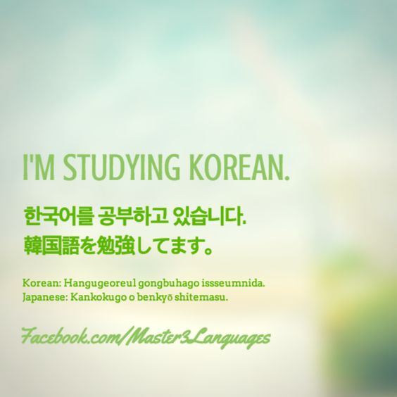 How to say 'I'm studying Korean.' in Korean: Master3Languages - Korean, Japanese, English