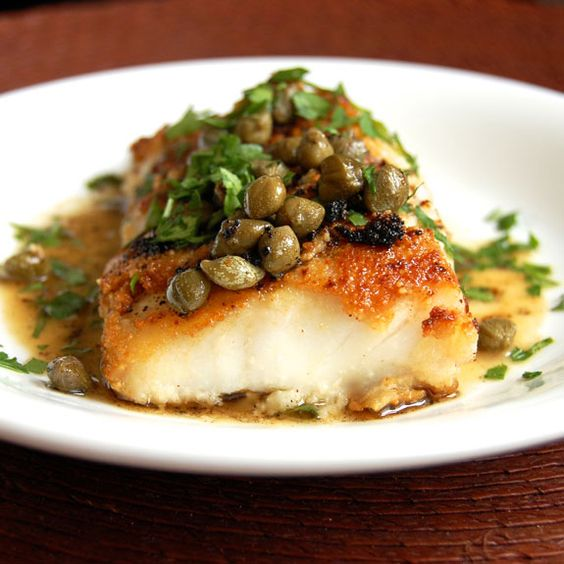 Simple cod piccata recipe himalayan salt salts and for Fish dinner recipes