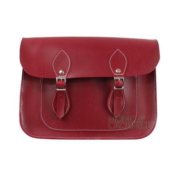 Bolsa Croisfelt Satchel Feminina Carteiro, Vermelha Burgundy Marsala Vinho 11'' Retro Vintage Design Transversal #itbag #fashion #Moda