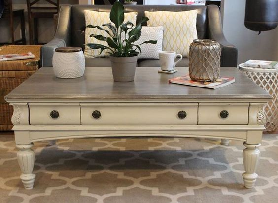 Chalk painted coffee table our refinished furniture for How to refinish a table with paint