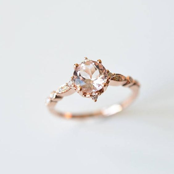 Morganite engagement ring in solid rose gold, set with a total of 0.1ct diamonds. Available in solid 14k, 18k gold and platinum. ♥ Material: Solid 14/18K gold,Platinum; 0.1ct VS clarity diamonds, excellent cut, G-H color; ♥ Dimension: Band measures about 1.5mm approx; Morganite