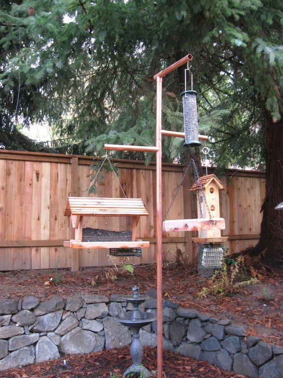 Build a copper bird feeder pole bird feeders copper and for Bird feeder pole plans